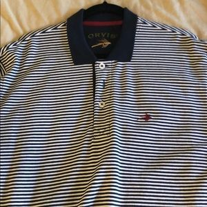 Orvis Navy striped signature pique polo